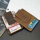 Men's Women's Crazy Horse Leather Wallet Magnetic Money Clip  ID Card Holder