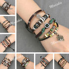2X/3X Unisex Personality Genuine Leather Charm Wristband Bracelet Set Jewelry