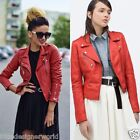 Zara Red Biker Leather Jacket Size Xs/s/m/l - Uk 6/8/10/12 - Bnwt