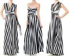 STRIPED CONVERTIBLE INFINITY MAXI DRESS Multi Way Wrap Maxi Black Whtie S M L