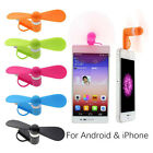 2 in 1 Multicolor Portable Travel Mini USB Fan For iPhone Android Smart Phone
