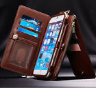 Genuine Leather Detachable Zipper Wallet Card Belt Clip Case Cover For iPhone