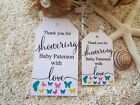 10 White Gift Tags Bomboniere Baby Shower Favour Personalised Boy Girl v2