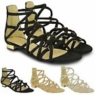 Womens Ladies Flat Strappy Sandals Ankle High Caged Gladiator Summer Shoes Size