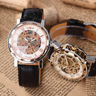 Classic Men's Roman Dial Skeleton Leather Steampunk Mechanical Wrist Sport Watch