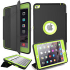 For Apple iPad Leather Smart Cover Shockproof Heavy Duty Hard Case + Kick-Stand