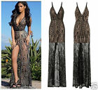 CELEB SEXY BLACK NUDE SEQUIN SHEER MESH SLIT MAXI FISHTAIL PARTY PROM DRESS 8-18