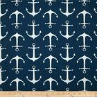 Premier Prints Sailor Oxford Navy Blue OUTDOOR Anchors Fabric - by the Yard