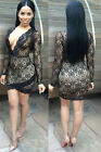 Black Lace Sleeved Wrap Over Club Dress