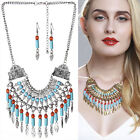 Women Boho Vintage Tassel Necklace Silver Gold Plated Statement Multilay Jewelry