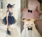 New Toddler Girl Birthday Costume Top Tutu Shirt Cat Kitten Skirt Cute Dress Up