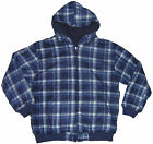 Mens Reversible Checker Fleece Zipper Front Hoodies S - 2XL Navy #12 NEW