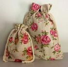 Linen Fabric Rose Floral Print Drawstring Pouch Gift Bag 2 size Bags 12 or 18cm