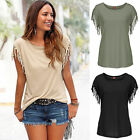 Womens Tassels Short Sleeve Loose T-Shirt Ladies Summer Casual Tops Blouse UK