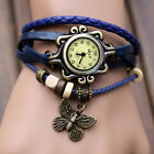Women Vintage Charm Fashion Butterfly Bracelet Faux Leather Quartz Wrist Watch