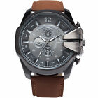 New Men's Fashion Stainless Steel Sport Leather Casual Rubber Quartz Wrist Watch