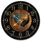 Black & Wood Rooster LARGE WALL CLOCK  10- 48 Quiet Non-Ticking WOOD HANDMADE