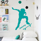Customized Name Skate Skateboarding Skater Boy DIY Vinyl Wall Sticker Decal