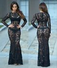 Sexy Lady Embroidery Mesh See Thru Bodycon Mermaid Long Gown Maxi Prom Dress