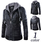 Fashion Slim Fit Hooded Men's Black Motorcycle PU Leather Jacket Coat E226H
