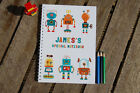 Robots Personalised Notebook Children's Girl's Boy's Gift Idea Various Sizes