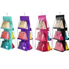 Cute Hanging 6 Pocket Handbag Closet Bag Organizer Clear Storage Rack Shelf Case