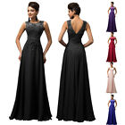UK Shipping Long Applique Wedding Evening Formal Party Prom Bridesmaid Dress