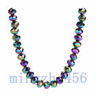 8x6mm Rondelle Faceted Crystal Glass Loose Spacer Beads 25/100pcs 130 Color