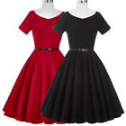 Womens Summer Vintage Style 50s Housewife Swing TEA Dress Party Cocktail + Belt
