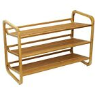 Oceanstat 3 Tier Bamboo Shoe Rack Organizer Shoes Storage Space Adjustable NEW