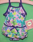 Circo Swimsuit Lavender Lilac Purple 1 PIECE Butterfly Girls Swim Suit Bathing