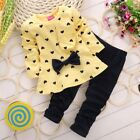 Baby Girl Toddler Heart Print Autumn Winter Kids Children Casual Outfit Set