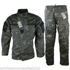 TACTICAL RIPSTOP OUTFIT TROUSERS SHIRT BLACK CAMO WORKWEAR PAINTBALLING AIRSOFT