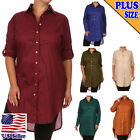 (PLUS SIZE) Solid Color Collared Button Down Button tabs Shirts Top_T1516_SD