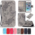 Butterfly Flower Flip PU Leather Emboss Card Slot Wallet Stand Case For Phone