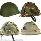 ARMY HELMET + COVER US M1 REPLICA COMBAT HAT BOYS ADULTS MTP CAMO WW2 VIETNAM