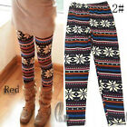 AU SELLER Red Nordic Reindeer Snowflake Leggings Slim Stretch Pants p001-2