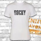 ROCKY VINTAGE LOGO T-SHIRT, COOL DESIGN - WHITE GILDAN SOFTSTYLE - RETRO GIFT