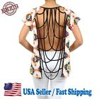 Women's Sexy Aztec Print Blouse Top Open Back Fashion T-shirts - CA5101-1