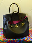 NEW Milan Soft Deep Black Italian Leather Tote Handbag (GHW) 30CM 35CM