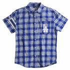Los Angeles Dodgers Team Logo Mens Short Sleeve Wordmark Flannel Shirt New on Ebay
