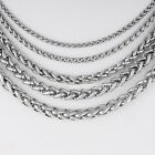 """3/4/5/6/8/10mm Mens Boys Stainless Steel Wheat Braided Necklace Chain 18""""-36''"""