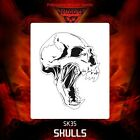 Airbrush stencil template DELTAARTS SKULL 35 -  4 SIZES AVAILABLE MINI MID