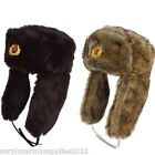 MENS MILITARY STYLE COSSACK HAT FAKE FUR WINTER RUSSIAN ARMY HEADWEAR FISHING