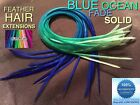 Feather Hair Extensions Blue Ombre Fade Feathers Hook Tool Beads Craft Kit 7pcPk
