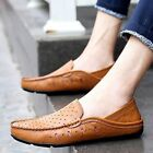 Men's Genuine Leather Hollow Breathable Slip On Loafers Moccasins Driving Shoes