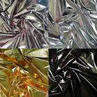 "HIGH GLOSS METALLIC FOIL LAMINATED POLYESTER 190T BACK OUTDOOR DANCE FABRIC 58""W"