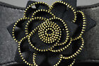 VINTAGE STYLE ZIP ROSE FLOWER BLACK & GOLD  ELASTIC BELT SMALL,MEDIUM ,LARGE