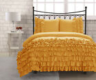 GOLD HALF RUFFLED DUVET COVER BED SKIRT 1000TC 100% COTTON CHOOSE SIZE