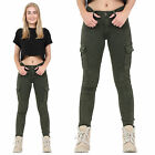 New Womens Dark Green Slim Skinny Stretch Combat Jeans Pants Cargo Trousers
